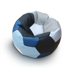 Кресло мяч футбол_сине-голубо-серо-черный_экокожа