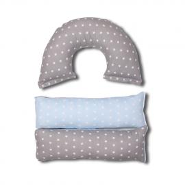 Подушка для беременных Трансформер серый голубой звезды